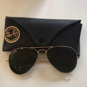 Ray-Ban Gold & Black Aviator Sunglasses